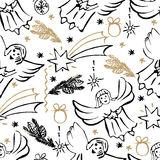 Christmas hand drawn seamless pattern. Christmas decorate, snowflakes, fir branch, balls, angels, stars. Vector illustration Stock Photography
