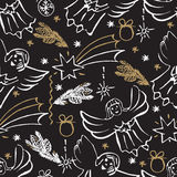 Christmas hand drawn seamless pattern. Royalty Free Stock Photo