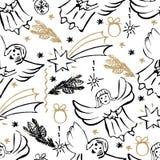 Christmas hand drawn seamless pattern. Christmas decorate, snowflakes, fir branch, balls, angels, stars. Vector illustration stock illustration