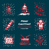 Christmas hand drawn sketch icons on dark blue background Few color tones, red, white, gray. Vector illustration Stock Photos