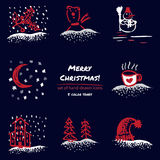 Christmas hand drawn sketch icons on dark blue background Few color tones, red, white, gray. Vector illustration Stock Illustration