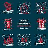 Christmas hand drawn sketch icons on dark blue background Few color tones, red, white, gray. Vector illustration Royalty Free Stock Photos