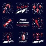 Christmas hand drawn sketch icons on dark blue background Few color tones, red, white, gray. Vector illustration Royalty Free Stock Photography