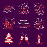Christmas hand drawn sketch icons on dark purple background Few color tones, red, white, gray. Vector illustration Stock Photo