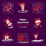 Christmas hand drawn sketch icons on dark purple background Few color tones, red, white, gray. Vector illustration Royalty Free Stock Images