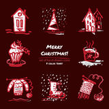 Christmas hand drawn sketch icons on dark red background Few color tones, red, white, gray. Vector illustration Stock Photography
