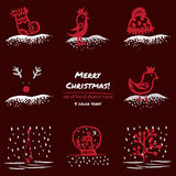 Christmas hand drawn sketch icons on dark red background Few color tones, red, white, gray. Vector illustration Stock Photos