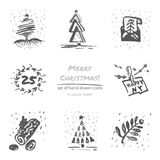 Christmas hand drawn sketch icons on white background Stock Image