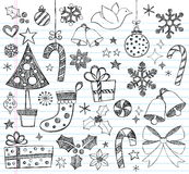 Christmas Hand-Drawn Sketchy Doodles. Hand-Drawn Christmas / xmas Sketchy Notebook Doodles with ornaments, candy cane, Christmas tree, doves, bells, snowflake Royalty Free Stock Images
