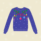 Christmas hand drawn sweater with Christmas decorations stock illustration
