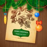 Christmas hand drawn Vecrot sketch card for xmas design with balls. Royalty Free Stock Photo