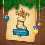 Christmas hand drawn Vecrot sketch card for xmas design with balls. Stock Photos