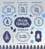Christmas Hand drawn Vector Design Elements. Typographic elements, Symbols, Icons, Vintage Labels, Badges, Frames royalty free illustration