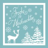 Christmas Hand Drawn Vector Greeting Card. White Deer Fir Trees Snow Flakes. Blue Background. Calligraphic Lettering in German. Frohe Weihnachten. Editable Stock Photo
