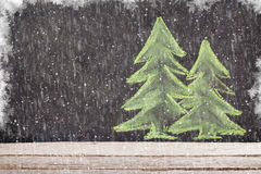 Christmas hand drawn xmas fir tree on chalk board. With copy space Royalty Free Stock Photography