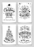 Christmas hand lettered greeting cards set. Christmas greeting cards bundle in black  on white background. A unique set of hand lettered holiday cards or posters Royalty Free Stock Photos