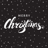 Christmas hand lettering on black  background with  snowflakes. Christmas  greeting  card. Hand lettering on black  background with  snowflakes. Vector Royalty Free Stock Photos