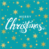 Christmas  hand lettering on blue  background with  golden stars. Christmas  greeting  card. Hand lettering on blue  background with  golden stars. Vector Stock Photos