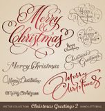 Christmas hand lettering set (vector). Set of 9 hand lettered christmas and new years greetings - handmade calligraphy; scalable and editable vector illustration Stock Photography