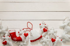 Christmas hand made decoration on the wooden background Royalty Free Stock Images