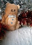 Christmas hand made ornament. Christmas bear on the snow, christmas decoration royalty free stock photo
