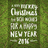 Christmas hand pain greeting card with twig background Royalty Free Stock Images