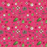Christmas seamless pattern red. Festive winter background with hand drawn seasonal symbols and elements royalty free illustration