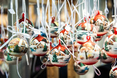 Christmas hand-painted balls royalty free stock photo