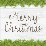 Christmas hand written greeting card with twig frame Royalty Free Stock Image
