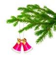 Christmas handbell on tree. Isolated Royalty Free Stock Photo