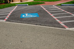 Christmas Handicap Parking. Handicap parking with candy cane stripes for Christmas Stock Images