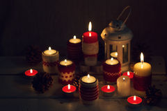 Christmas handmade. Christmas candles in the candle holders knit Royalty Free Stock Images