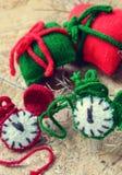 Christmas, handmade clock, xmas, gift, time Stock Images