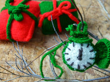 Christmas, handmade clock, xmas, gift, time Royalty Free Stock Photos