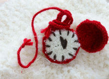 Christmas, handmade clock, xmas, gift, time Royalty Free Stock Image