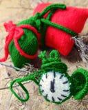 Christmas, handmade clock, xmas, gift, time Royalty Free Stock Images