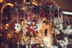 Christmas handmade decorations hanging Stock Photography