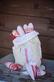 Christmas handmade heart shaped decorations in linen bag Stock Photography