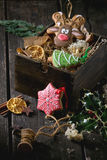 Christmas Handmade patterned gingerbreads Stock Images