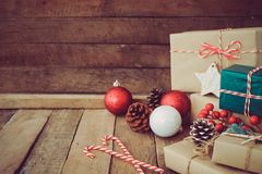 Christmas handmade present with tag for Merry Christmas and New year holiday. stock photos
