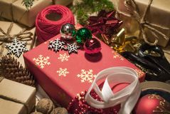 Christmas handmade with ribbon threads royalty free stock images