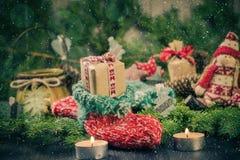 Christmas handmade sock Mascot tree decorations pine needles Royalty Free Stock Images
