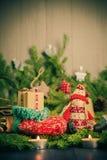 Christmas handmade sock Mascot tree decorations pine needles Stock Photography