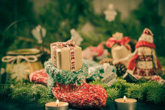 Christmas handmade sock Mascot tree decorations pine needles Stock Image