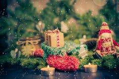 Christmas handmade sock Mascot tree decorations pine needles Royalty Free Stock Photography