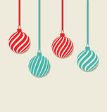 Christmas hanging balls with copy space for your text, simple st Stock Images