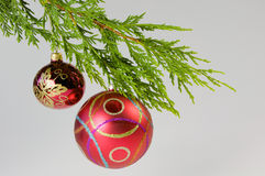 Christmas, hanging decoration. Christmas decoration hanging from a christmas tree on white background Stock Photography