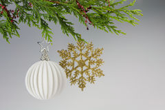 Christmas, hanging decoration. Christmas decoration hanging from a tree on white background Stock Image