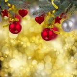 Christmas hanging decorations border Stock Photography