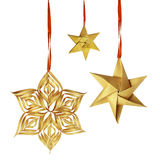 Christmas hanging golden paper decoration Stock Photos